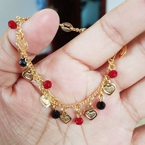 18k GF baby girl hearts and beads bracelet.New